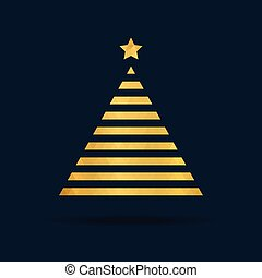 Golden polygon tree. Xmas minimalistic design. You can use it like card, banner, poster and ect