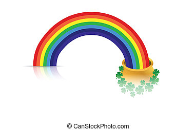 golden pot rainbow isolated over white. vector