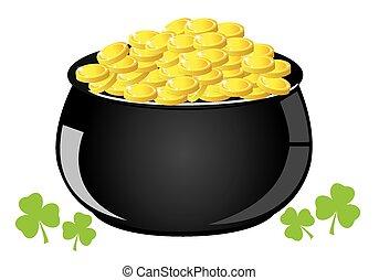 Golden Pot - vector pot with gold