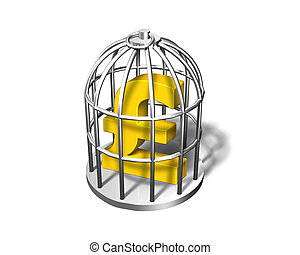 Golden pound symbol in the silver cage, 3D illustration -...