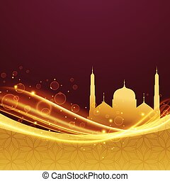 golden premium eid and ramadan festival design with light effect