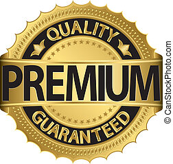 Golden premium label, vector illustration