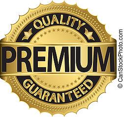 Golden premium label, vector illust