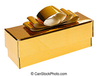 Golden present box with yellow ribbon, isolated on white