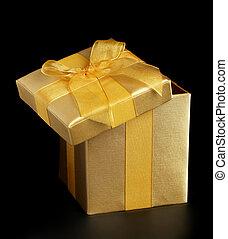 Golden present slightly open
