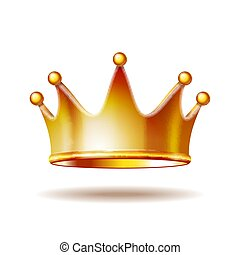 Golden princess crown isolated on white