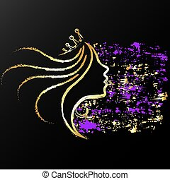 Golden profile of a girl with a crown