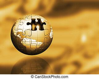 Golden puzzle globe
