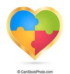 Golden Puzzle Heart 3D Icon