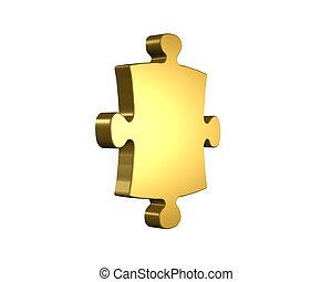 Golden puzzle piece, 3D rendering
