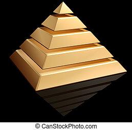 Golden Pyramid - Original illustration of a layered golden...