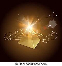 Golden pyramid. Vector illustration.