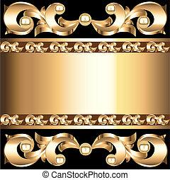 gold(en), quadro, ornamento, voluminous, fundo, vegetal