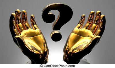 golden question mark in a hands