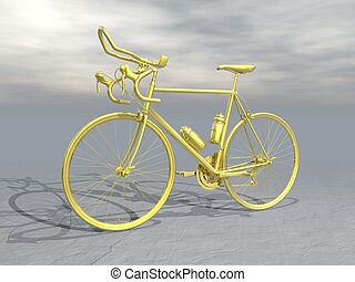Golden race bike - 3D render