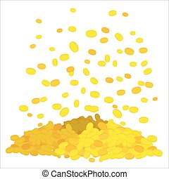 Golden rain. Falling gold coins. heap of money. Cash in fly in air. Mountain treasures