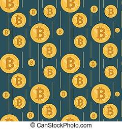 Golden rain of bitcoins on a dark background