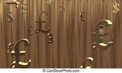 Golden rain of currency symbols.