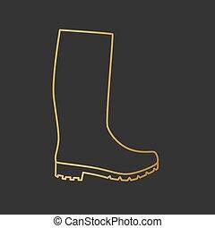 golden rain rubber boots icon -vector illustration