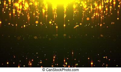 Golden rain with rays of light