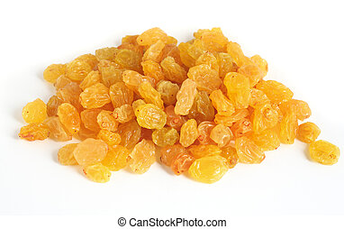 Golden raisins over white - A heap of golden raisins for ...