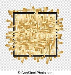 Golden randomly scattered stripes with black frame