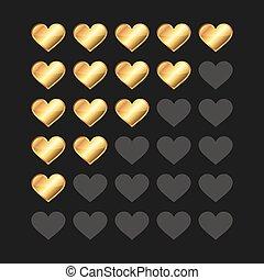 Golden Rating Hearts Panel Set. Vector
