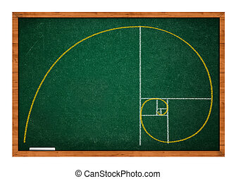 Golden ratio green chalkboard with wooden frame.