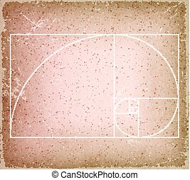 Golden Ratio On Old Vintage Background - Illustration of a...
