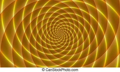 Golden rays. Animated abstract illustration of bright yellow orange spirals rotating on white background. Colorful animation, seamless loop.