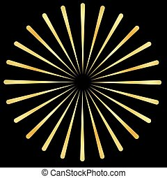 Golden Rays, gold beams element. Sunburst, starburst shape. Radiating, golden radial, merging lines. Abstract gold circular geometric shape.