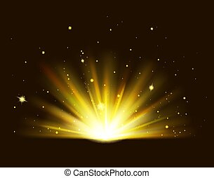 Golden rays rising on black background. Shining golden bright light. Abstract Gold shine burst with sparkles.