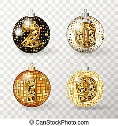Golden Realistic 3d Vector Christmas Balls with 2019 Numbers