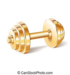 Golden realistic dumbbell isolated on white background....