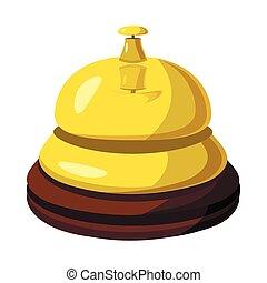 Golden reception bell icon, cartoon style