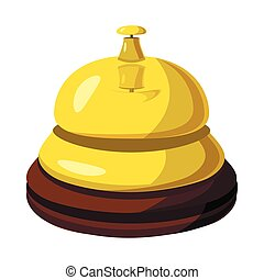Golden reception bell icon, cartoon style