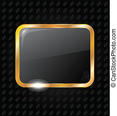 Golden rectangle frame isolated on aluminum background
