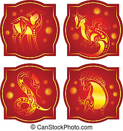 Golden-red chinese horoscope. Dragon, Snake, Horse and Sheep