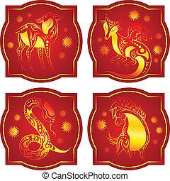 Golden-red chinese horoscope