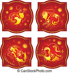 Golden-red chinese horoscope. Rat, Ox, Tiger and Rabbit