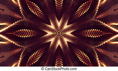 golden red color background of glowing particles with depth of field and bokeh as microworld or sci-fi theme. Particles form line and surface grid. 3d rendering. 4