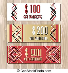 Golden red gift certificate template in art deco outline style
