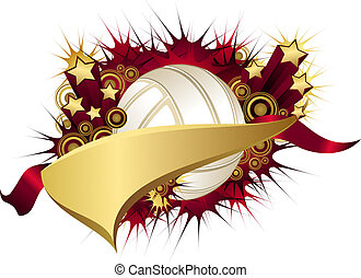 Golden Red Starburst Volleyball Pennant - Illustration of a...