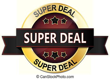 golden red super deal badge with stars