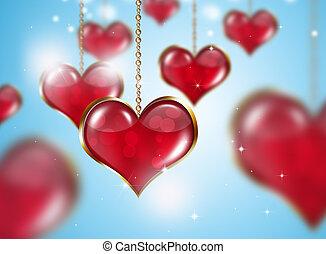 Golden Red Valentine Hearts