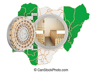 Golden reserves of Nigeria concept, banking vault with gold...