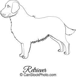 Golden retriever dog outline vector