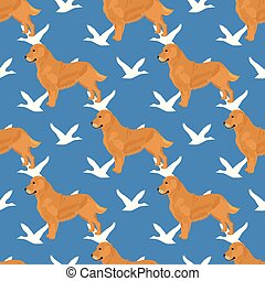 Golden retriever dog seamless pattern