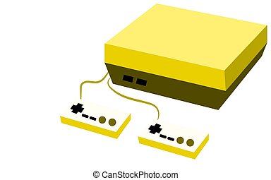 Golden retro hipster rectangular volumetric vintage antique game console with two joys and buttons on a white background. Vector illustration