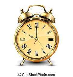 Golden retro style alarm clock.